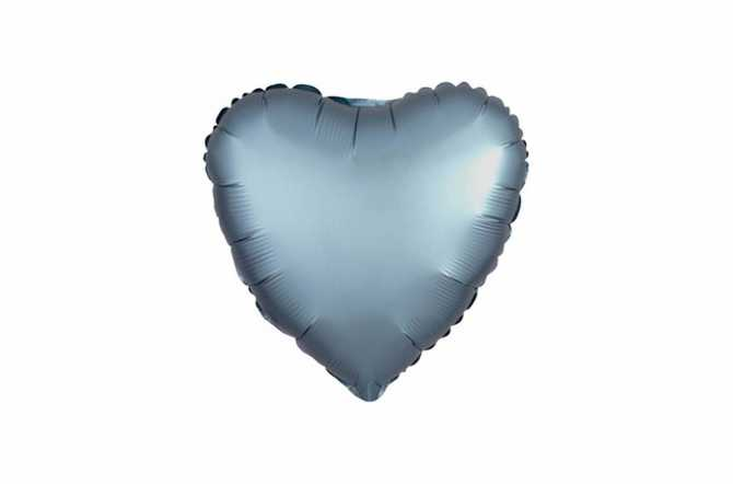 Ballon aluminium Cœur bleu acier satiné mat - 40 cm