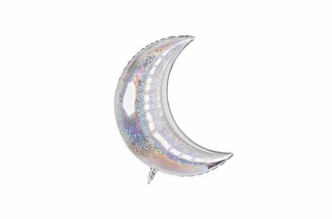 Grand ballon aluminium Lune pailleté holographique argent - 106,7 cm