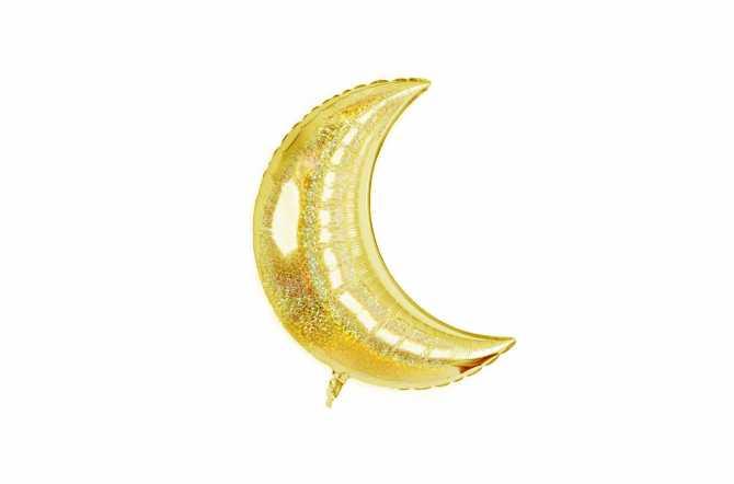Grand ballon aluminium Lune pailleté holographique doré - 106,7 cm