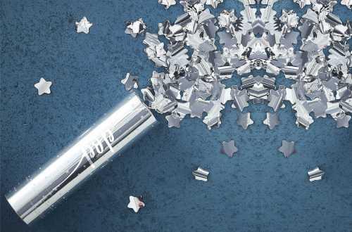 Canon à confettis – Etoiles argentées