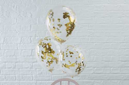 5 Ballons de baudruche - Confettis dorés