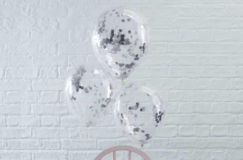 5 Ballons de baudruche - Confettis ronds argentés