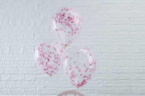 5 Ballons de baudruche - Confettis rose