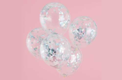 5 Ballons de baudruche - Confettis iridescent