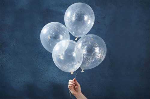 5 Ballons de baudruche - Mini confettis ronds argentés