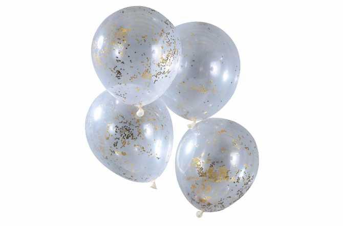 5 Ballons de baudruche - Confettis doré