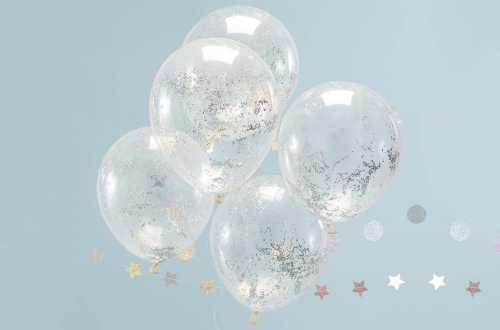 5 Ballons de baudruche - Confettis étoiles holographiques