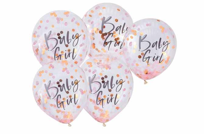 5 Ballons de baudruche - Baby girl – Confettis rose et or