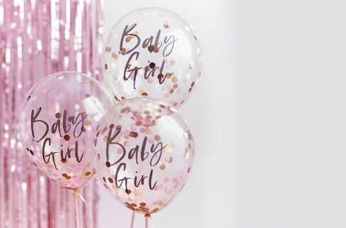 Ballons Baby girl  Confettis rose