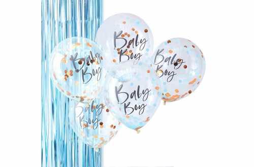 5 Ballons de baudruche - Baby boy – Confettis bleu et or