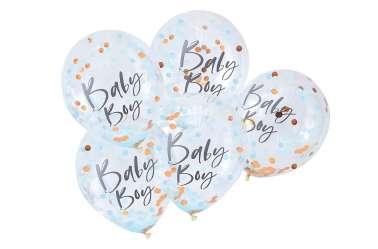 5 Ballons de baudruche - Baby boy – Confettis bleus et dorés