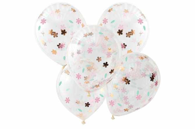 5 Ballons de baudruche - Confettis fleurs
