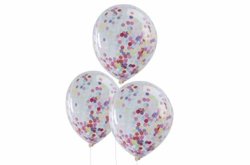 5 Ballons de baudruche - Confettis multicolores