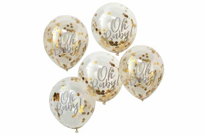 5 Ballons de baudruche – Oh Baby ! - Doré
