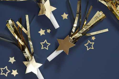 6 Sifflets cornes de fête à étoile – Doré