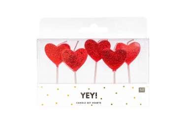 5 Petites bougies coeurs rouges avec scintillement