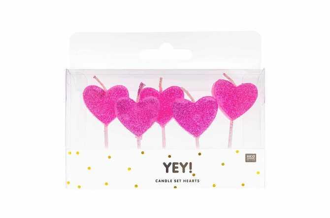 5 Petites bougies coeurs roses avec scintillement