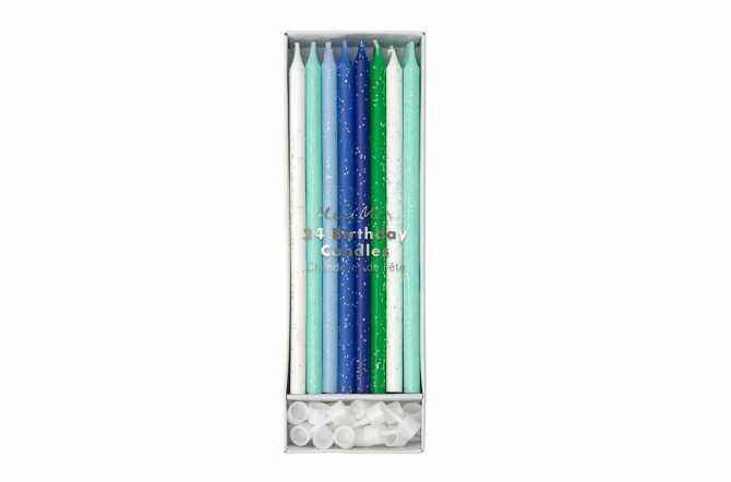 24 Longues bougies pailletées Blanches et nuances de bleu