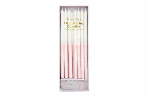 16 Longues bougies pailletées rose trempées