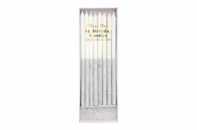16 Longues bougies pailletées argentées trempées