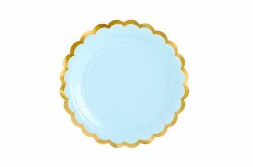 6 Assiettes bleues pastel à bord doré