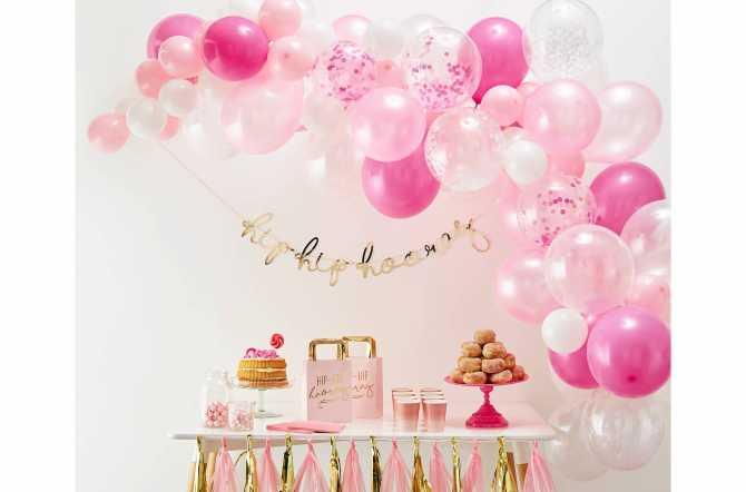 Kit arche de ballons rose - 70 ballons