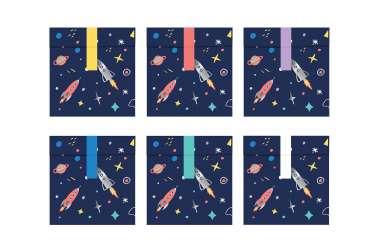 6 Sachets et stickers - Planète, fusée et étoiles