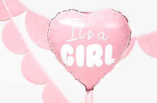 Ballon mylar It's a GIRL – Cœur rose (45 cm)