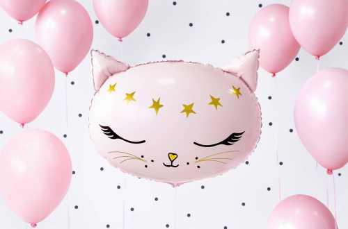 Ballon mylar tête de Chat - Rose et Or