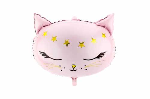 Ballon mylar tête de Chat - Rose et Or