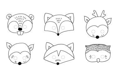 6 Masques pour enfants - Animaux de la forêt
