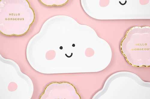 6 Assiettes nuage souriant (26 x 17 cm)