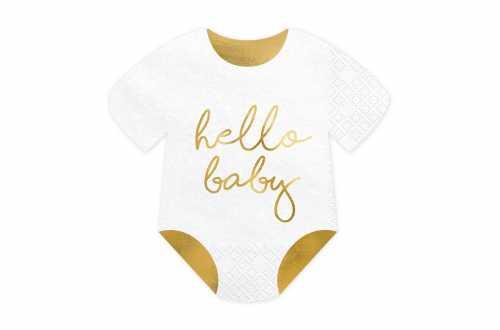 Serviettes Hello Baby en papier - Blanc et Or