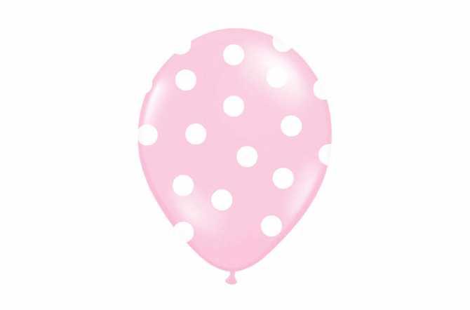 6 Ballons roses à pois blancs