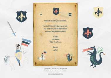 Invitation et Décoration anniversaire gratuite à imprimer et à découper - Thème chevalier