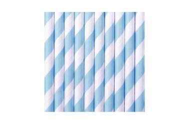 10 Pailles à rayures - bleu ciel