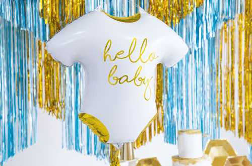 Ballon grenouillère de bébé hello Baby blanc et doré - 51x45cm