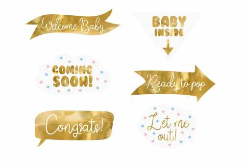 Kit photobooth de baby shower ou de gender reveal party – 6 panneaux