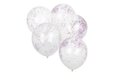 5 Ballons transparents à paillettes roses