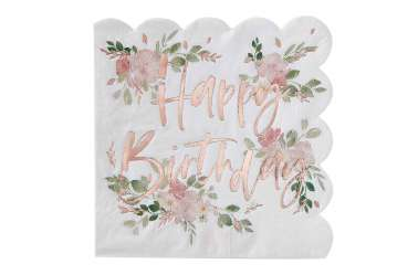 16 Serviettes Happy birthday – fleurs
