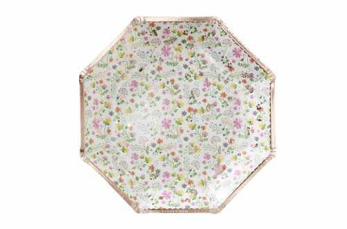 8 Grandes assiettes – fleurs et pois rose gold