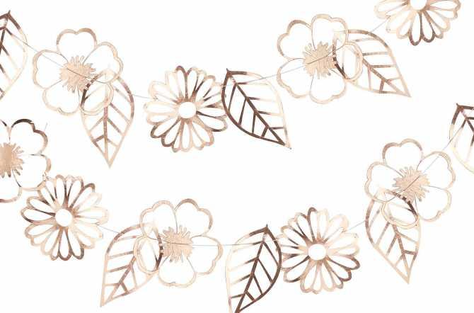 Guirlande fleurs et feuilles – rose gold 3 m