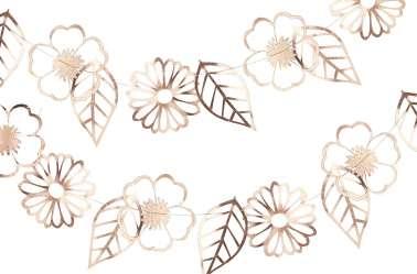 Guirlande fleurs et feuilles – rose gold (3 m)