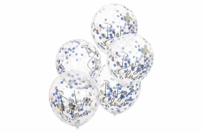 5 Ballons de baudruche à confettis pour révélation de sexe – rose gold et bleu marine