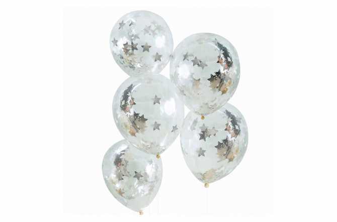 5 Ballons de baudruche – Confettis étoiles argentées