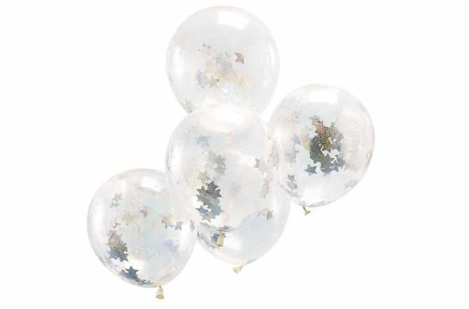 5 Ballons de baudruche – Confettis étoiles holographiques