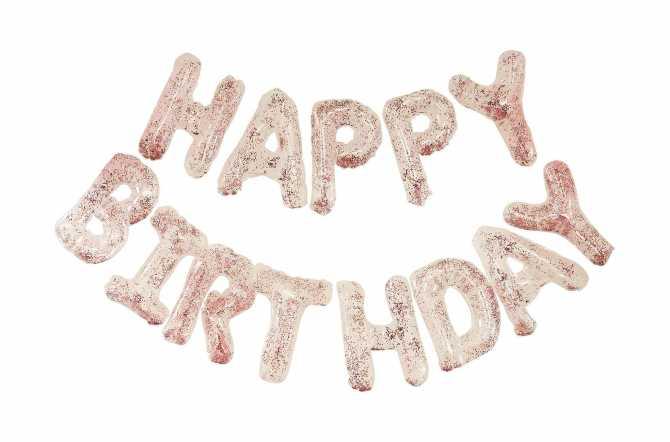Grande guirlande HAPPY BIRTHDAY - Transparente avec confettis roses