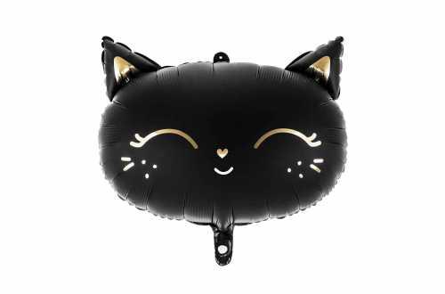 Ballon mylar tête de Chat - Noir et Or