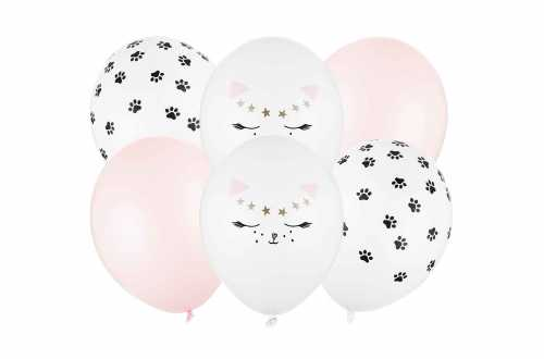 Set de 6 ballons mixtes chat - 30cm
