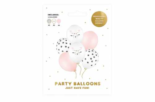 Set de 6 ballons mixtes chat - 30cm